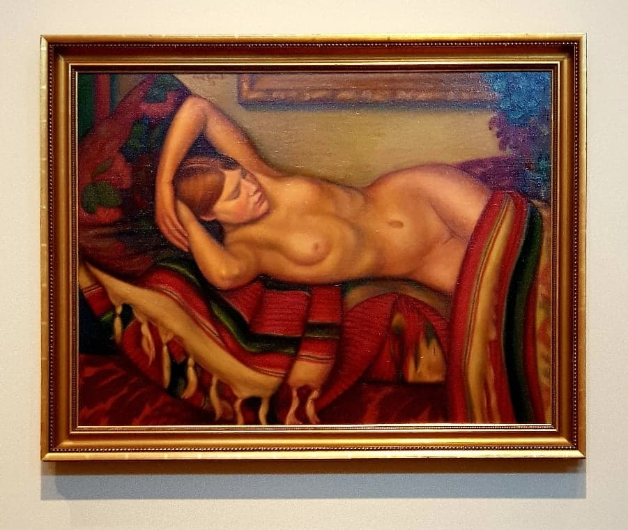 painting of a reclining lady in nude