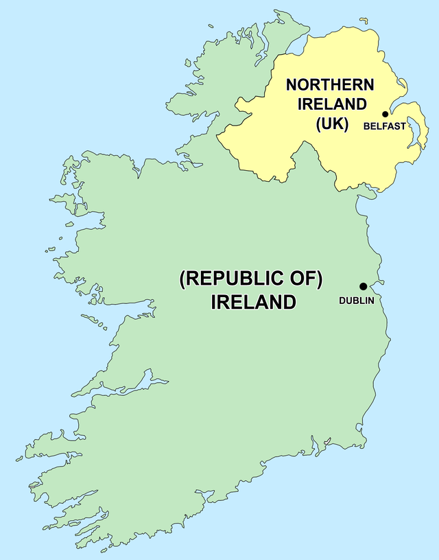 map of ireland, differentiating northern ireland and the republic of ireland
