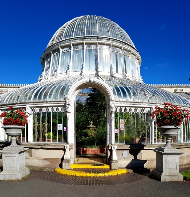 a panoramic image of The Palm House front door