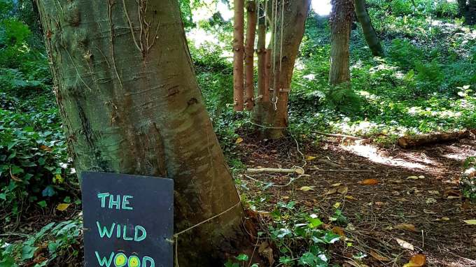 "image of a nature walk with a sign saying ""the wild wood: marry the hare say take care"""