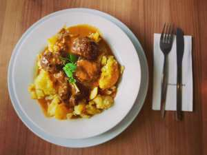 meatballs and potatoes on a plate