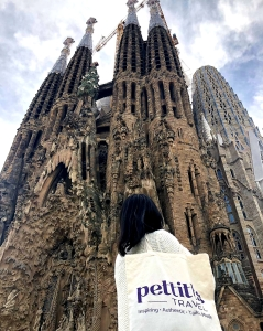 The author in front of Sagrada Familia in Barcelona, Spain