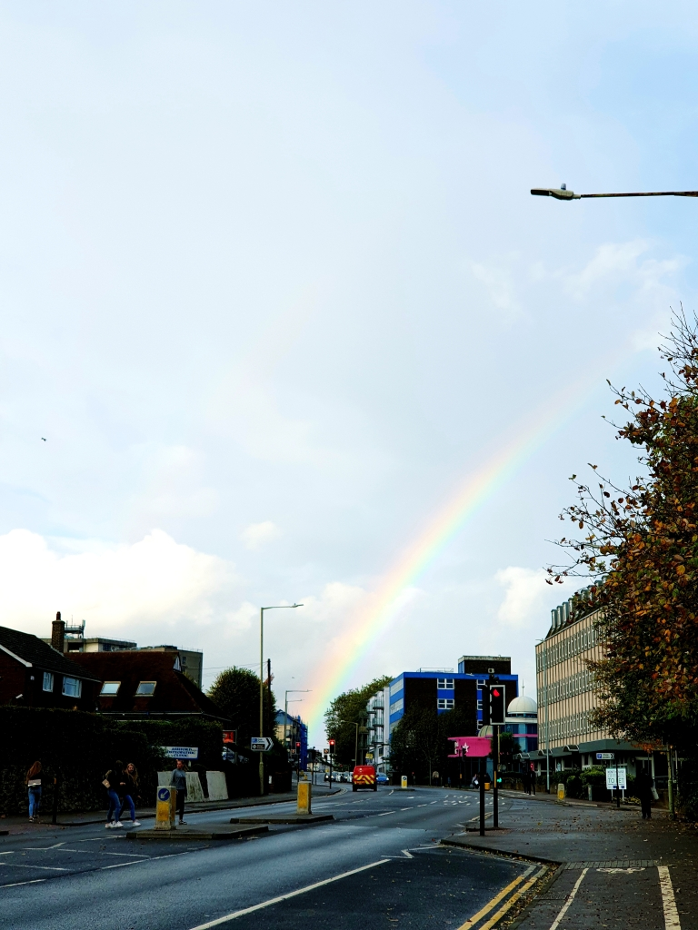 a rainbow in a small town in Kent